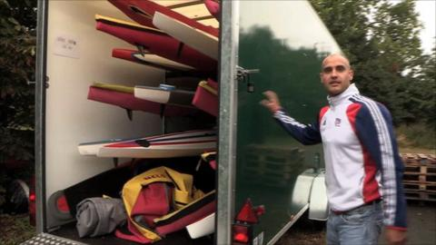 Liam Heath with trailer full of kayaks at Dorney Lake