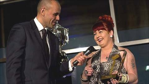 Lisa Jones is presented with the BBC Wales Unsung Hero award for 2010