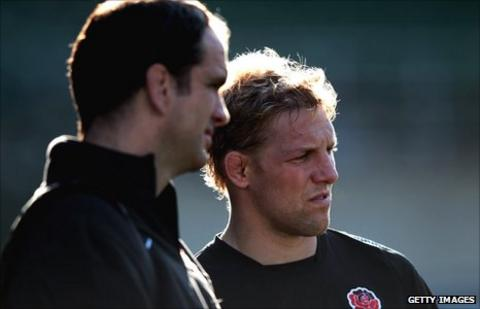 Martin Johnson (left) and Lewis Moody