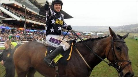 Paddy Brennan celebrates his Gold Cup win