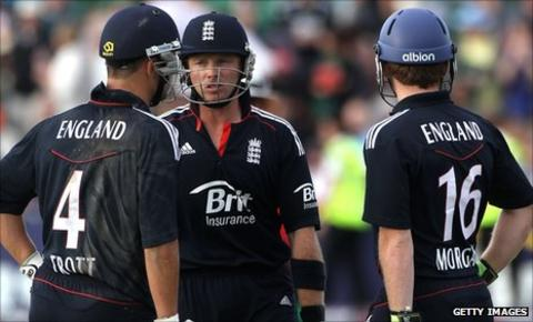 Eoin Morgan (right) acted as a runner for Ian Bell (centre) when he batted with Jonathan Trott against Bangladesh in 2010