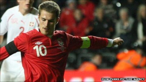 Aaron Ramsey opens the scoring for Wales against Switzerland
