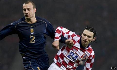 Alan Hutton in action against Croatia