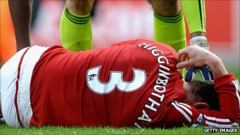 Stoke City defender Danny Higginbotham was injured in the 1-1 draw against Chelsea in April