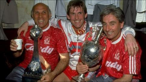 Liverpool trio Ronnie Moran, Kenny Dalglish and Roy Evans