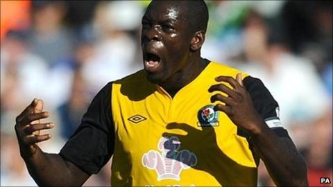 Christopher Samba celebrates scoring for Blackburn
