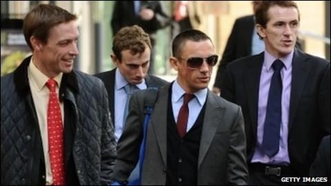 Richard Hughes, Ryan Moore, Frankie Dettori Dettori and McCoy arrive for talks