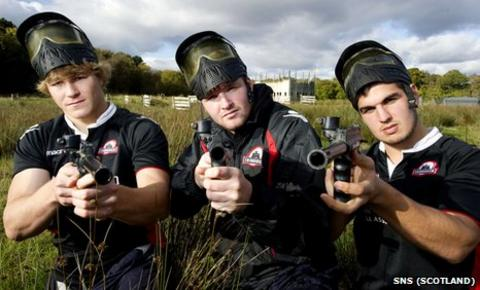 Edinburgh trio David Denton (left), Steve Turnbull (centre) and Stuart McInally enjoy a day out at paintball
