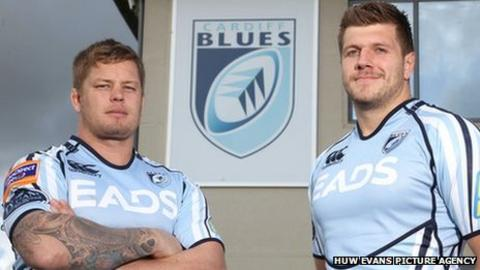 New Cardiff Blues signings Ryan Tyrrell (left) and Jamie Corsi
