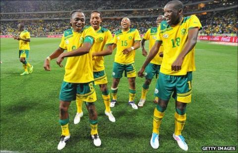 South African players mistakenly celebrate qualifying for the 2012 Africa Cup of Nations