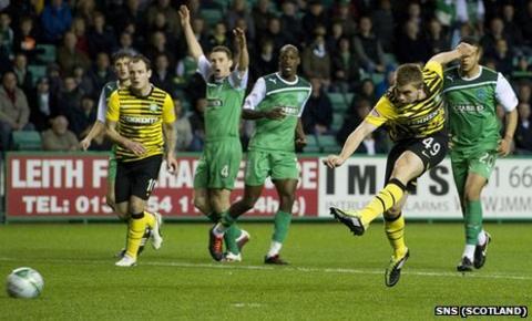 James Forrest scores to make it 2-1 for Celtic at Easter Road