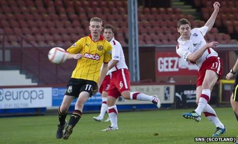 Iain Vigurs scores for Ross County against Partick Thistle
