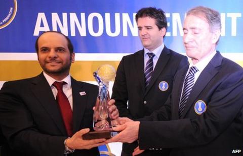 Doha bid supremo Sheikh Saoud (left)