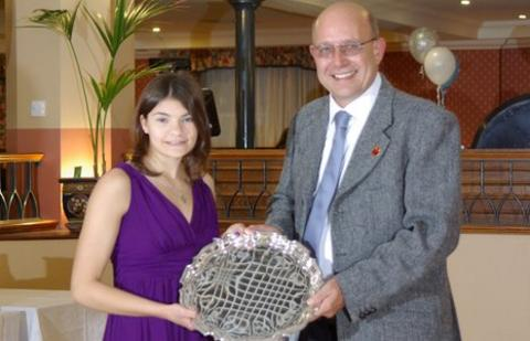 Samantha Godel gets her award from JSAD chairman Paul Patterson