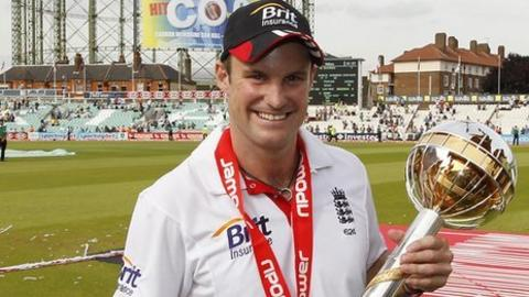 Andrew Strauss with the ICC mace
