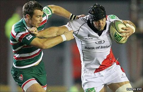 Leicester's Andy Forsyth challenges Ulster forward Stephen Ferris