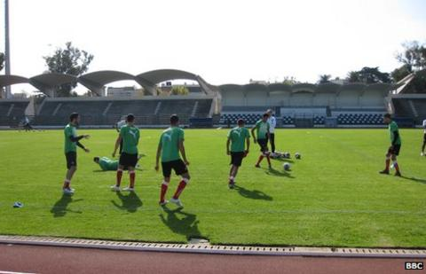 Morocco's Under 23 team train during the African Olympic qualifying tournament