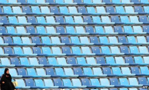 Virtually empty DSC Stadium in Dubai