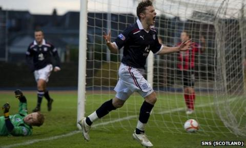 Dundee goalscorer Nicky Riley
