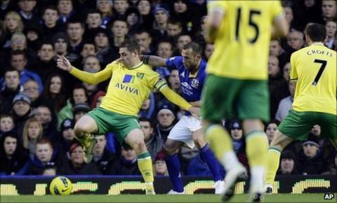 Grant Holt (left) shields the play