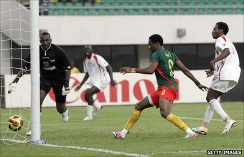 Cameroon's Samuel Eto'o scores against Sudan at the 2008 Nations Cup