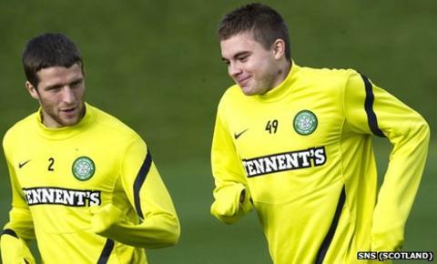 Adam Matthews and James Forrest in training