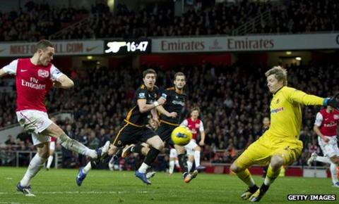 Wolves goalkeeper Wayne Hennessey who helped his side to a 1-1 draw at Arsenal