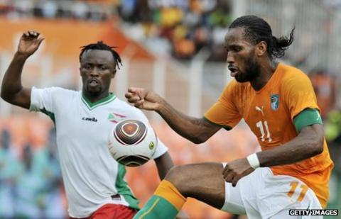 Chelsea and Ivory Coast's Didier Drogba in action against Burundi