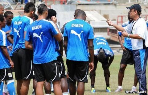 The Gabon team in training