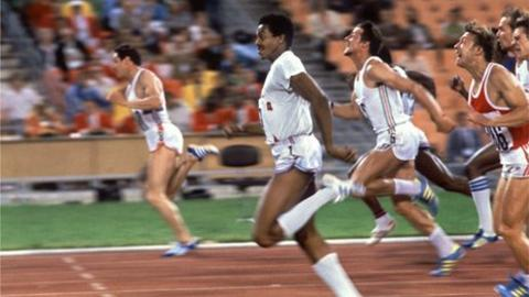 Allan Wells (left) winning the Olympic 100m gold medal from Silvio Leonard (second left)