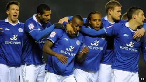 Leicester celebrate scoring against Nottingham Forest