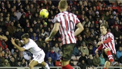 Craig Gardner adds Sunderland's second goal with a glorious volley