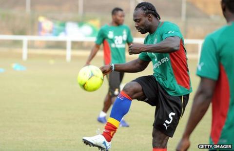 Ghana captain John Mensah trains in Franceville