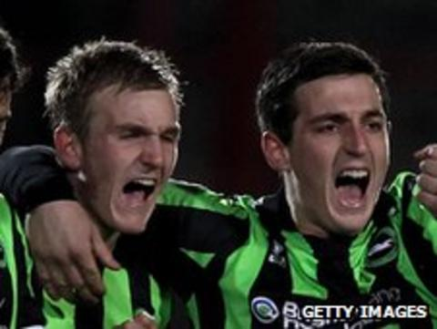 Torbjorn Agdestein and Lewis Dunk celebrate Brighton's penalty victory over Wrexham in the FA Cup