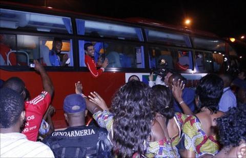 The Equatorial Guinea players leave the Estadio de Bata