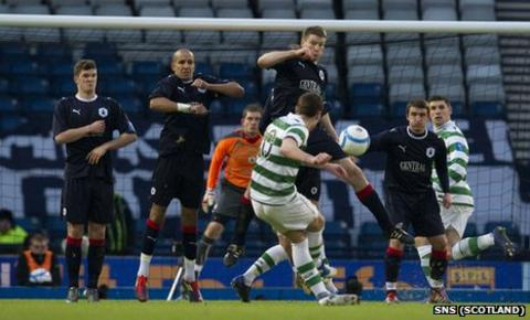 Anthony Stokes scores a free-kick for Celtic against Falkirk