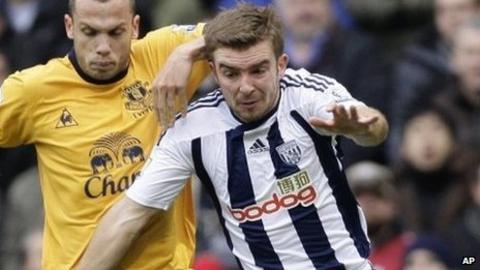 West Bromwich Albion's James Morrison (right)