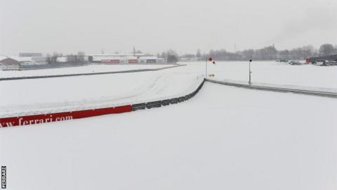 Heavy snow at the Ferrari base in Maranello, Italy