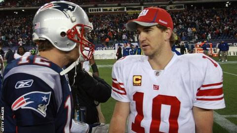 Tom Brady (left) of the New England Patriots and Eli Manning of the New York Giants