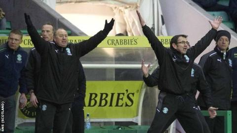 Hibs managerment team of Billy Brown and Pat Fenlon
