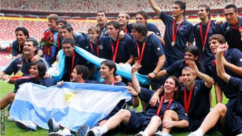 The Argentina team celebrating their Beijing 2008 gold success