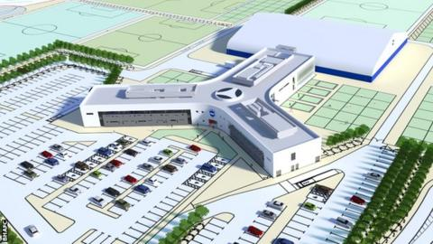An artist's impression of Brighton & Hove Albion's new training complex and academy