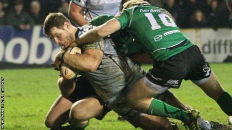 Sam Hobbs scores a try for Cardiff Blues