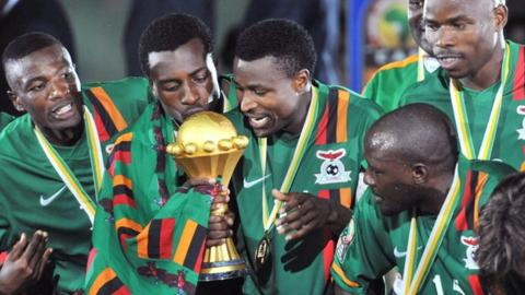 Zambia celebrate a shock win over Ivory Coast