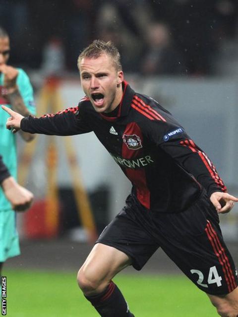 Michal Kadlec celebrates after scoring for Leverkusen