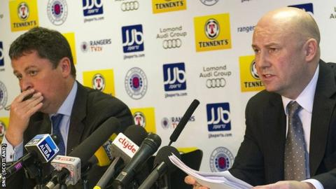 Administrators Paul Clark (right) and David Whitehouse address the media on the current financial crisis at Rangers