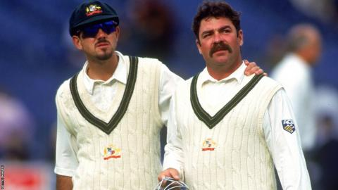 Ricky Ponting and David Boon during a Test against Sri Lanka in December 1995