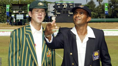 Ricky Ponting watches Sri Lanka captain Hashan Tillakaratne toss the coin at his first Test as captain in March 2004