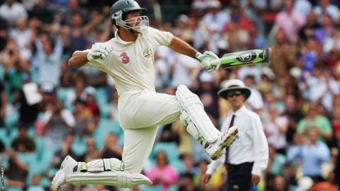 Ricky Ponting celebrates scoring the winning runs against South Africa at Sydney in 2006