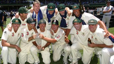 Ricky Ponting's Australia celebrate the 2007 Ashes victory